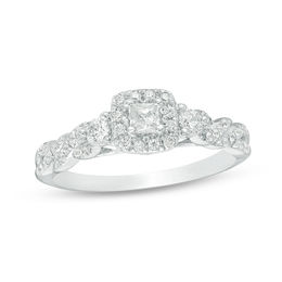 1/2 CT. T.W. Princess-Cut Diamond Past Present Future® Frame Twist Engagement Ring in 10K White Gold - Size 7