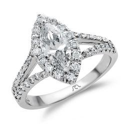 1-1/8 CT. T.W. Certified Marquise Diamond Frame Split Shank Engagement Ring in Platinum (H/SI2)