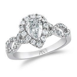1-1/5 CT. T.W. Certified Pear-Shaped Diamond Frame Twist Engagement Ring in Platinum (H/SI2)