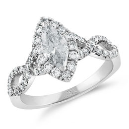 1-1/5 CT. T.W. Certified Marquise Diamond Frame Twist Engagement Ring in Platinum (H/SI2)