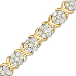 "4 CT. T.W. Composite Diamond Flower ""X"" Alternating Bracelet in 10K Gold"