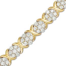 T W Composite Diamond Flower X Alternating Bracelet In 10k Gold