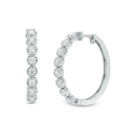 1 CT. T.W. Diamond Hoop Earrings in 10K White Gold