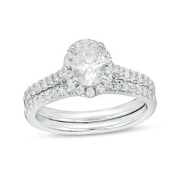1-1/5 CT. T.W. Certified Oval Diamond Frame Bridal Set in 14K White Gold (I/SI2)