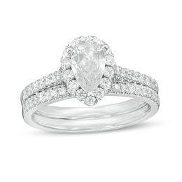 1-1/5 CT. T.W. Certified Pear-Shaped Diamond Frame Bridal Set in 14K White Gold (I/SI2)