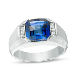 Men's 9.0mm Cushion-Cut Lab-Created Blue Sapphire and 1/20 CT. T.W. Diamond Signet Ring in Sterling Silver