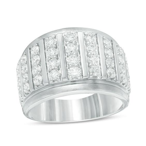 men 39 s 2 ct t w diamond multi row ring in 10k white gold. Black Bedroom Furniture Sets. Home Design Ideas