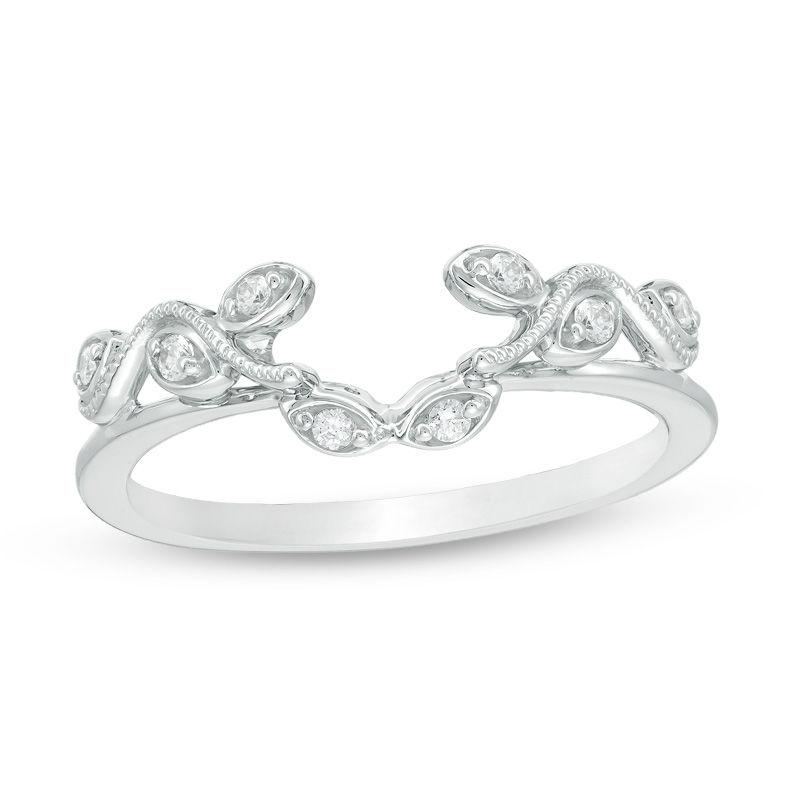 tw diamond vine vintage style solitaire enhancer in 10k white - Wedding Ring Enhancers