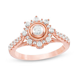 3/4 CT. T.W. Diamond Starburst Frame Vintage-Style Engagement Ring in 10K Rose Gold