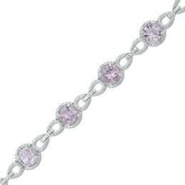 7.0mm Rose de France Amethyst and 1/20 CT. T.W. Diamond Beaded Buckle Bracelet in Sterling Silver - 7.5""