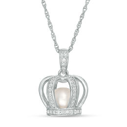 6.5 - 7.0mm Cultured Freshwater Pearl and Lab-Created White Sapphire Crown Cage Pendant in Sterling SiIver
