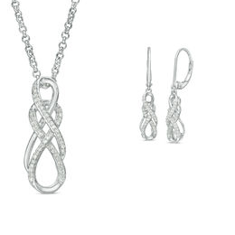1/5 CT. T.W. Diamond Double Infinity Pendant and Drop Earrings in Sterling Silver - 17""