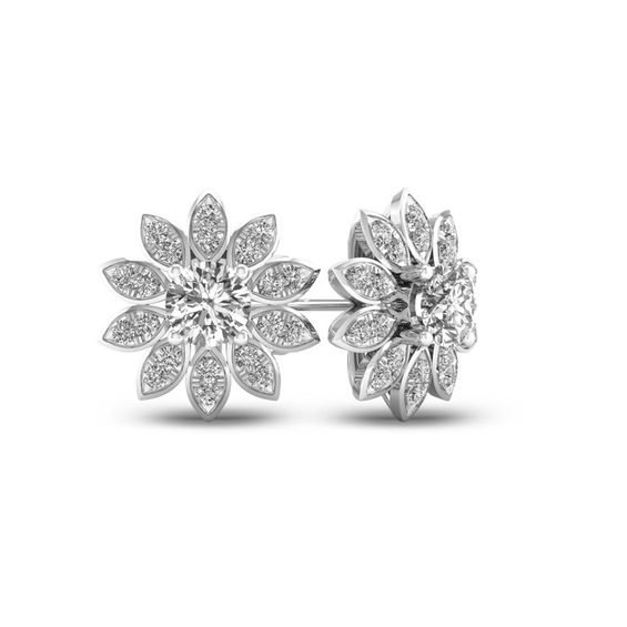 1 CT. T.w. Diamond Flower Stud Earrings in 10K White Gold