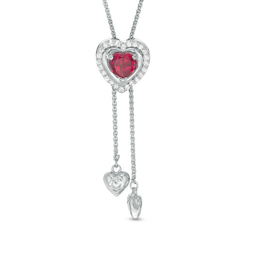 5 0mm Lab Created Ruby And White Sapphire Heart Lariat