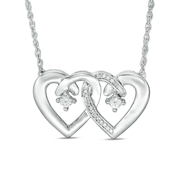 Zales Couples Simulated Birthstone and 1/20 CT. T.w. Diamond Double Heart Necklace in Sterling Silver (2 Stones) - 17.5 CSs3lgFh