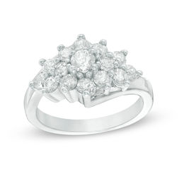 1-1/6 CT. T.W. Diamond Sunburst Ring in 10K White Gold