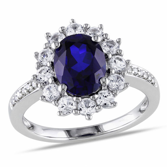 Zales Oval Lab-Created Blue Sapphire and Diamond Accent Starburst Frame Ring in Sterling Silver t3K2WC6N