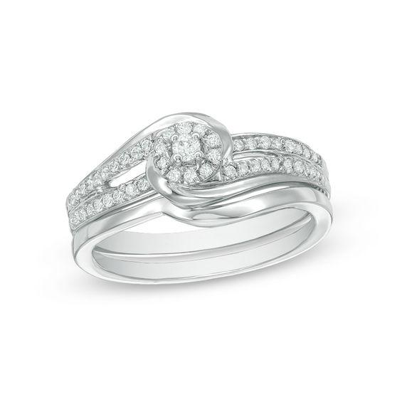 Zales 1/15 CT. Diamond Solitaire Bridal Set in Sterling Silver el9e72SV