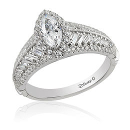 Enchanted Disney Pocahontas 1-1/2 CT. T.W. Marquise Diamond Frame Vintage-Style Engagement Ring in 14K White Gold
