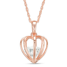 8.0mm Lab-Created White Sapphire Heart-Shaped Cage Pendant in Sterling Silver with 18K Rose Gold Plate