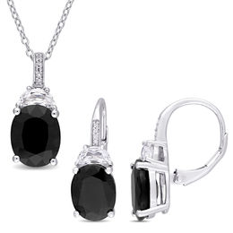 Oval Black Sapphire, Lab-Created White Sapphire and Diamond Accent Pendant and Earrings Set in Sterling Silver