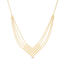 Beaded Bib Necklace in 10K Gold - 17""