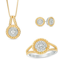 1/5 CT. T.W. Diamond Pendant, Ring and Earrings Set in Sterling Silver with 14K Gold Plate - Size 7