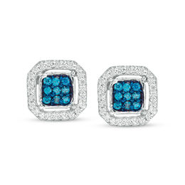 1/4 CT. T.W. Enhanced Blue and White Diamond Cushion Frame Stud Earrings in Sterling Silver