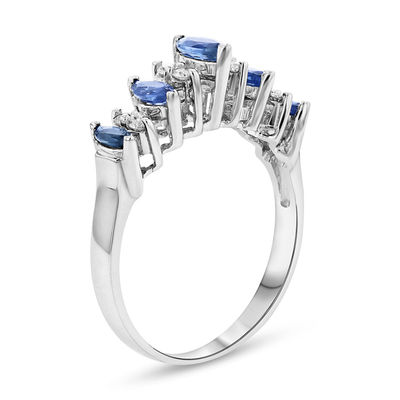 TW DIAMOND ATTRACTIVE ANNIVERSARY RING 14K WHITE GOLD OVER BLUE SAPPHIRE 1//8 CT
