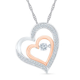 Unstoppable Love™ 1/4 CT. T.W. Diamond Tilted Double Heart Pendant in Sterling Silver and 10K Rose Gold