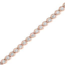 2 CT. T.W. Diamond Wave Tennis Bracelet in 14K Rose Gold