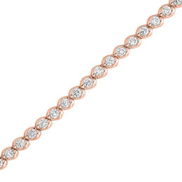 3 CT. T.W. Diamond Wave Tennis Bracelet in 14K Rose Gold