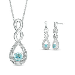 Blue Topaz and Beaded Cascading Infinity Pendant and Earrings Set in Sterling Silver