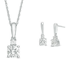 Lab-Created White Sapphire Duo Pendant and Earrings Set in 10K White Gold