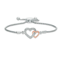 Diamond Accent Interlocking Hearts Bolo Bracelet in Sterling Silver and 10K Rose Gold - 9.5""