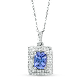 Cushion-Cut Tanzanite and 1/5 CT. T.W. Diamond Double Rectangle Frame Pendant in 14K White Gold