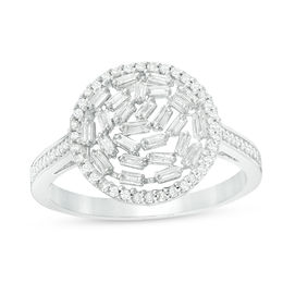 1/2 CT. T.W. Baguette and Round Diamond Ring in 10K White Gold