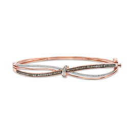 1/2 CT. T.W. Champagne and White Diamond Knot Wave Bangle in 10K Rose Gold