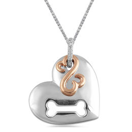 Open Hearts by Jane Seymour™ Diamond Accent Cutout Dog Bone Pendant in Sterling Silver and 10K Rose Gold