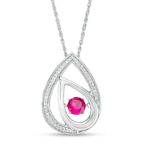 "Unstoppable Loveâ""¢ 4.5mm Lab-Created Ruby and 1/10 CT. T.w."