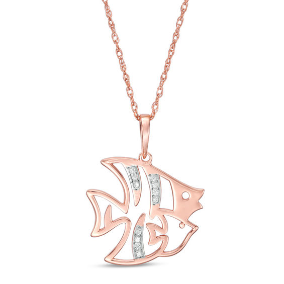 Diamond Accent Laser-Cut Fish Pendant in 10K Rose Gold
