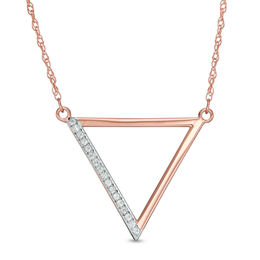 1/20 CT. T.W. Diamond Laser-Cut Triangle Necklace in 10K Rose Gold