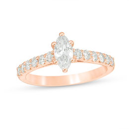 1 CT. T.W. Certified Marquise Diamond Engagement Ring in 14K Rose Gold (I/I1)