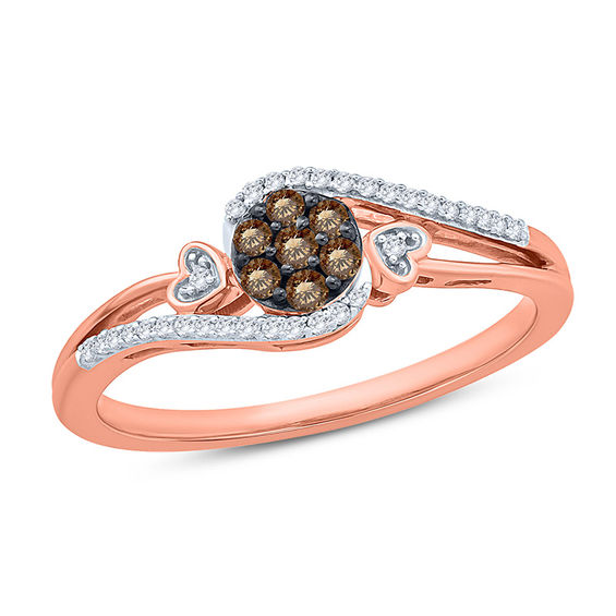 Zales 1/6 CT. T.w. Champagne and White Diamond Hearts Ring in 10K Rose Gold qwKXKP