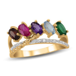 Mother's Oval Birthstone and Diamond Accent Open Rope Crossover Ring (2-5 Stones)