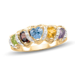 Mother's 4.0mm Heart-Shaped Birthstone and Diamond Accent Frame Layered Ring (3-5 Stones)