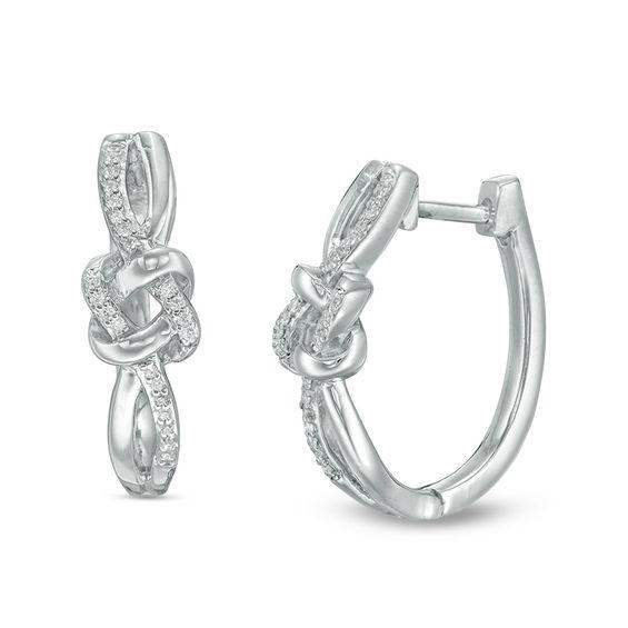 Zales 1/6 CT. T.w. Diamond Knot Hoop Earrings in Sterling Silver UVaEm
