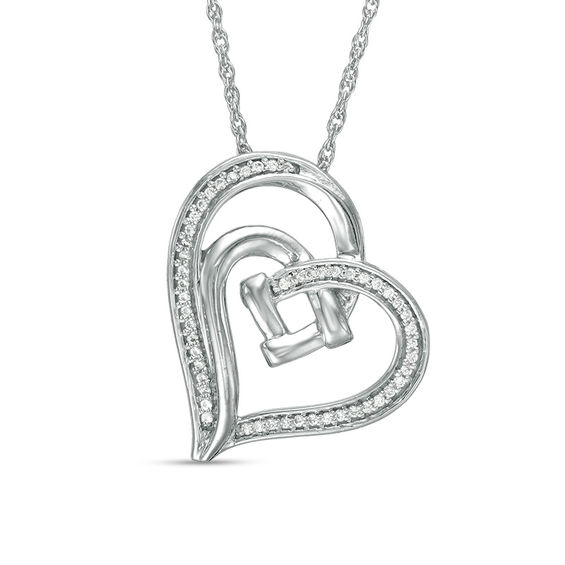 Zales 1/15 CT. T.w. Diamond Love Knot Double Tilted Heart Pendant in Sterling Silver