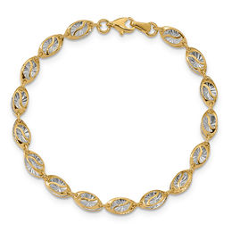 Diamond-Cut Link Bracelet in 14K Two-Tone Gold - 7.5""