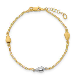 Puffed Teardrop Station Bracelet in 14K Two-Tone Gold - 8.0""